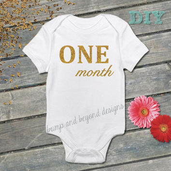 Monthly DIY Iron on Sparkle Glitter Appliques Baby Girl Month Bodysuit Shirts Baby Shower Gift Photo Prop DIY- 009