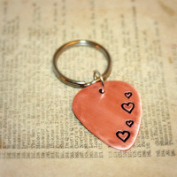 GUITAR PICK Key Ring - Hand Stamped 18 gauge Copper Guitar Pick, Hearts, Valentine's Day, Love, key chain - can be used as Pendant