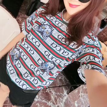 """""""Gucci"""" Women Personality Multicolor Stripe Letter Cat Head Print Short Sleeve T-shirt Top Tee"""