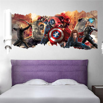 90*50cm newest impression 3D cartoon movie the Avengers Captain home decal wall sticker boys love kids room decor child gifts
