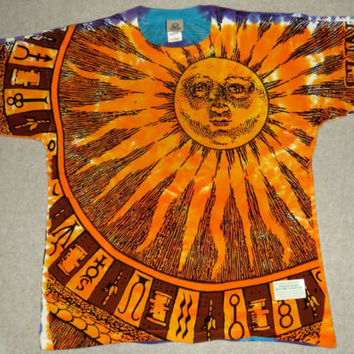 SUN MOON--Liquid Blue 2 sided Day Night Space Astronomy Science T shirt L-6XL