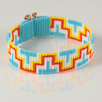 Aztec ZigZag Bead Loom Bracelet - Artisanal Jewelry - Southwestern - Bohemian - Hippie Chic - Boho - Yellow - Orange - White - Bright