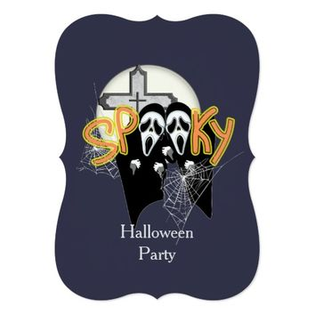 Spooky Haunting Screaming Ghost Faces Halloween Card