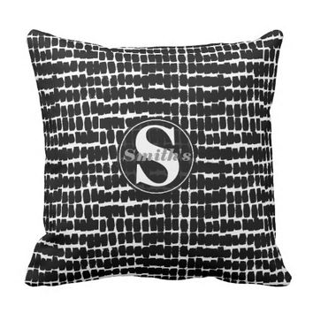 Modern Black & White Abstract Brush Stroke Pattern Throw Pillow