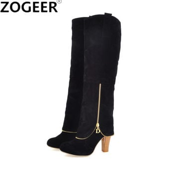 Plus Size 34-43 2017 Autumn Winter Women Boots Sexy Thick High Heel Flock Long Boots Zipper Deco Knee High Boots Ladies Shoes