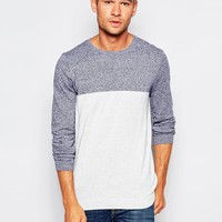 ASOS Cotton Crew Jumper with Blocking