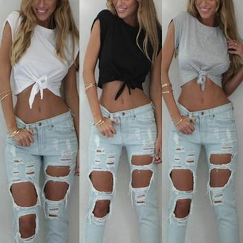 Womens Casual Cotton Crop Summer Top