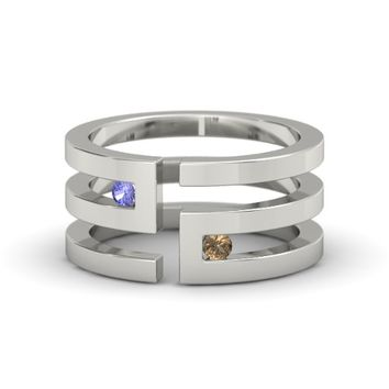 18K White Gold Ring with Tanzanite & Smoky Quartz