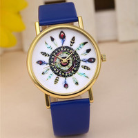 Boho Feather Watch with Blue Band