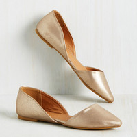 Essential Edge Flat in Gold Shimmer | Mod Retro Vintage Flats | ModCloth.com