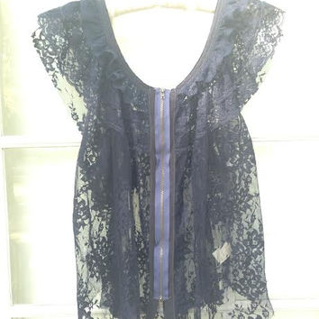 Floral Lace Zip Front Blouse (Free People)
