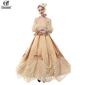 Victorian Dress Khaki Color Renaissance Medieval Ball Gowns Cosplay