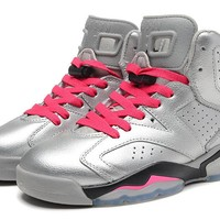 Hot Nike Air Jordan 6 High Women Shoes Rainbow Blanc