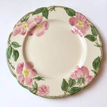 Franciscan Desert Rose Luncheon Plate, Vintage Franciscanware, 3 Available, Pink Rose Ceramic Plates, USA Backstamp