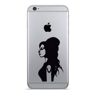 Amy winehouse iPhone 6 Decals - iPhone 6 Plus Stickers - Music Decal - Black Fabric Stickers - Jazz Lover Gift - Galaxy s5 Phone Sticker