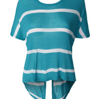 LE3NO Womens Loose Dolman Short Sleeve Knit Top with Split Back (CLEARANCE)