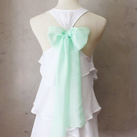 PREORDER // SEASIDE AURA - Romantic white flowy tier blouse // pastel mint green // chiffon sash bow // tunic // tank top // racerback