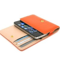 Manmade Leather Wallet Case Cover for iPhone 4 4S