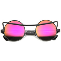 Unique Curved Bridge Round Mirror Lens Sunglasses A063