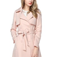 TopStyliShop Women's Point Collar Pink Coat with Belted High Waist C1025
