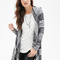 FOREVER 21 Marled Knit Hooded Cardigan