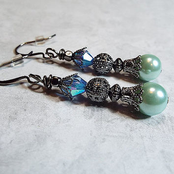 Dangle Earrings AB Blue and Green Faux Pearl Made with Swarovski Crystals Gunmetal Filigree Vintage Style Drop Ladies Gift