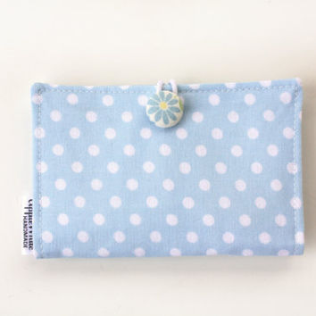 Blue Polka Dot Card Holder, Spring, Dasiy Button, Wallet, Business Card Holder, Credit Card Case, Gift Card Holder