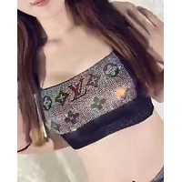 LV Louis Vuitton Summer New Popular Women Sexy Shiny Diamond Crystal Lace Bra Underwear Backless Top Vest I12333-1