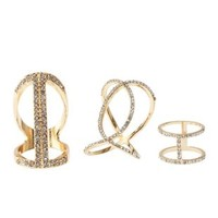 Gold Caged Rhinestone Rings - 3 Pack by Charlotte Russe