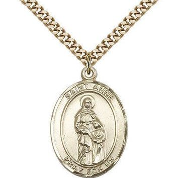 "Saint Anne Medal For Men - Gold Filled Necklace On 24"" Chain - 30 Day Money B... 617759809015"