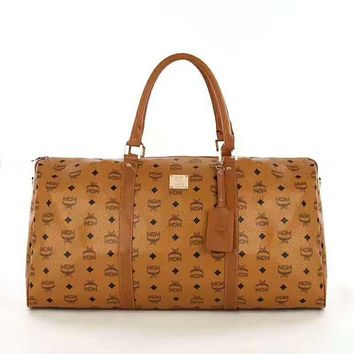 MCM Women Leather Luggage Travel Bag Tote Handbag B-LLBPFSH Brown
