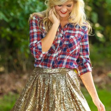 FOR SIENNA: Cocktails & Caviar Sequin Skirt-Gold