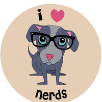 Button Pin Love Nerds: Pin Back Button Dog Nerd