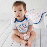 """Little Slugger"" Baseball Themed 3 Piece Layette Set"