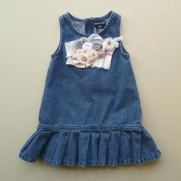 Shabby Girls Denim Jumper. Refashioned Ralph Lauren Play Clothes. Boho Prairie Girl. R