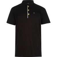 River Island Boys black grandad polo shirt