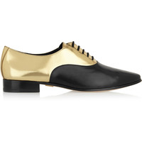 Michael Kors - Lottie metallic-paneled leather brogues