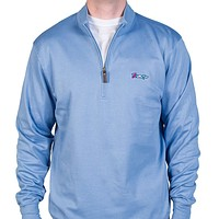 Longshanks Cotton 1/4 Zip Sweater in Silverlake Blue by Country Club Prep - FINAL SALE