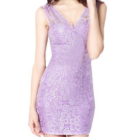 Lace V-Neck Sleeveless Bodycon Mini Dress