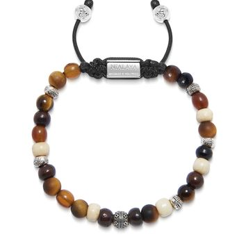 Men's Beaded Bracelet with Brown Tiger Eye, Horn Beads and Off-White Buffalo Beads