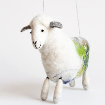 Anetta - Felt Sheep, Art Puppet, Felted animal, Marionette, Stuffed Animal, Felted Toy, Softie Plush Toy,  silver  white . MADE TO ORDER