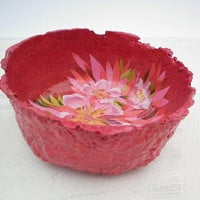 Papermache bowl Handmade Collage Mixed Media bowl Paper bowl with a flower collage inside Original papermache and paperpulp bowl