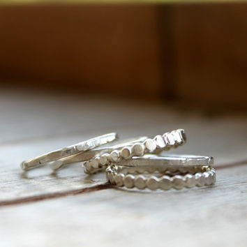 Stack Ring Set Of Five Dots Hammered Textured Everyday Simple Skinny Stack Ring Set