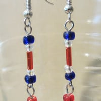 4th of July SPECIAL Patriotic in Pearls Necklace & Earring Set, Handmade, Original Design, Holiday Jewelry, Fashion Jewelry, Red White Blue