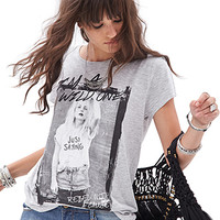 FOREVER 21 Wild One Tee Heather Grey/Black Large