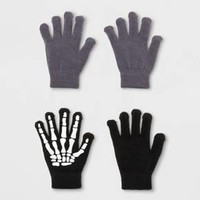 Boys' 2 Pack Skeleton & Solid Print Glove With 2 Finger Tech Touch - Cat & Jack™ Black/Gray One Size