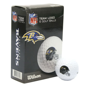 Baltimore Ravens White Golf Balls Pack of 6