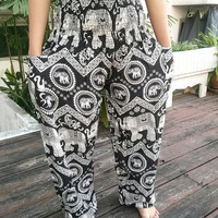 Black Elephant Pants Baggy Boho Style Printed Hippies Massage Gypsy Thai Pantalon Tribal Plus Size Rayon Fabric Aladdin Clothing Beach Baggy