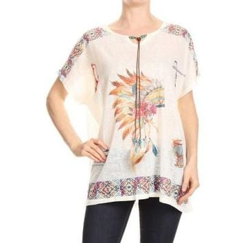 Women's Native Headdress Graphic Printed Top