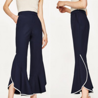 Simple Temperament Casual Multicolor Women High Waist Flares Pants Trousers
